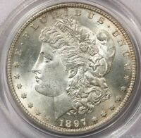 1897-S 1897 MORGAN DOLLAR $1 PCGS MINT STATE 63 OGH OLD GREEN HOLDER