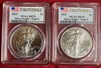 2021 SILVER EAGLE TYPE 1 AND TYPE 2 PCGS MS70 FIRST STRIKE F