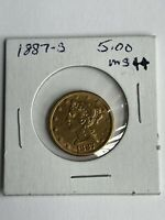 1887 S GOLD $5 LIBERTY HEAD EAGLE COIN BEAUTIFUL COIN.