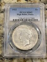 1921 PEACE DOLLAR MS62 HIGH RELIEF PCGS MS 62 BU SILVER DOLL