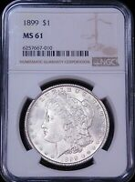 1899 P MORGAN SILVER DOLLAR NGC MINT STATE 61 FROSTY WHITE LUSTER PQ JUST GRADED G44