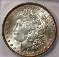 1886-P 1886 MORGAN DOLLAR ICG MINT STATE 63 REALLY COOL TONING ON THE RIMS AND DENTICLES