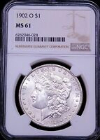 1902 O MORGAN SILVER DOLLAR NGC MINT STATE 61 FROSTY WHITE LUSTER PQ JUST GRADED G124