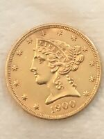 A 1900 $5 GOLD COIN OUTSTANDING CONDITION