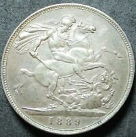 1889 GREAT BRITAIN .8409 OUNCE SILVER CROWN COIN