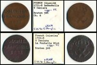 1721 H & 1722 H FRENCH COLOLONIES 9 DENIERS  2 COINS    SEE PICS >