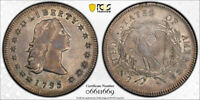 1795 $1 3 LEAVES FLOWING HAIR DOLLAR PCGS AU 50 ABOUT UNCIRCULATED BB-27 TOUGH