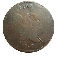 HALF CENT/PENNY 1797, 1 ABOVE 1 PLAIN EDGE LATE DIE STATE