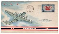 C23 EAGLE & SHIELD 6C AIRMAIL FDC 1938 BARBOUR HAND PAINTED