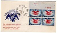 C23 EAGLE & SHIELD 6C AIRMAIL FDC 1938 PLANTY 9A PLATE BLOCK