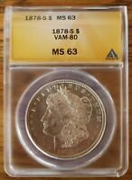 1878 S ANACS MINT STATE 63  VAM 80  ENGRD WING F, LINES IN EAGLE, DBLD E-PL-R-B