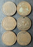 LOT OF SIX 2C TWO CENT PIECES