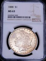 1888 P MORGAN SILVER DOLLAR NGC MINT STATE 63 CHAMPAGNE GREAT LUSTER JUST GRADED PQ G600