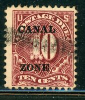 CANAL ZONE USED POSTAGE DUE SELECTIONS: SCOTT J14 10C CLARET