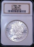 1888 P MORGAN SILVER DOLLAR NGC MINT STATE 64 BLAST WHITE FROSTY LUSTER PQ G654