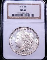 1896P MORGAN SILVER DOLLAR NGC MINT STATE 64 BLAST WHITE FROSTY LUSTER PQ G657