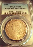 1834 CAPPED BUST HALF DOLLAR 50C   PCGSAU/55 LARGE DATE SMALL LETTERS