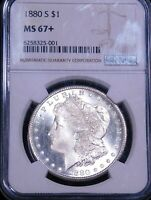 1880-S MORGAN SILVER DOLLAR NGC MINT STATE 67 BLAST WHITE CAMEO SUPER LUSTER PPQ G662