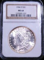 1904-O MORGAN SILVER DOLLAR NGC MINT STATE 64 BLAST WHITE FROSTY LUSTER GOLD RIMS PQ G664