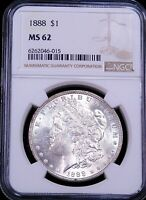 1888 P MORGAN SILVER DOLLAR NGC MINT STATE 62 FROSTY WHITE LUSTER PQ JUST GRADED G405