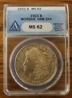 1921 P  ANACS GRADED AT MINT STATE 62  VAM 3A4
