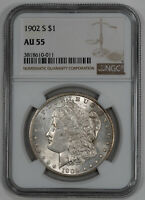 1902 S MORGAN SILVER DOLLAR $1 NGC CERTIFIED AU 55 ABOUT UNCIRCULATED 011