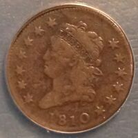 1810 CLASSIC HEAD LARGE CENT KEY DATE - ANACS VF 20 DETAILS