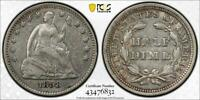 1858 HALF DIME OVER INVERTED DATE 5 CENTS 90  SILVER PCGS GR