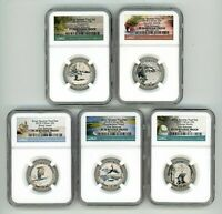 2018 S SILVER QUARTERS SET 25C REVERSE PROOF NGC PF70 FIRST