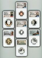 2021 S 7 COIN SILVER PROOF SET NGC PF 70 ULTRA CAMEO EARLY R