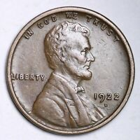 XF 1922 D LINCOLN WHEAT CENT PENNY