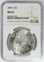 1891-S MORGAN SILVER DOLLAR NGC MINT STATE 63 $1