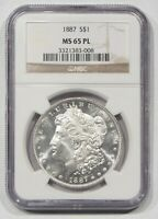 1887 $1 MORGAN SILVER DOLLAR NGC MINT STATE 65 PL VAM-11 DOUBLE DATE  101808