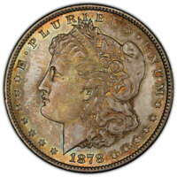 1878 MORGAN DOLLAR, 7 TF REV. OF 1879, CHOICE UNCIRCULATED PCGS MINT STATE 64, COLOR