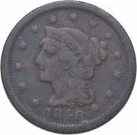 BETTER 1846 BRAIDED HAIR US LARGE CENT PENNY COIN COLLECTION