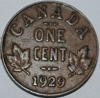 CANADA 1929 1 CENT GEORGE V CANADIAN PENNY COPPER COIN