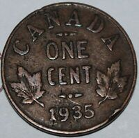 CANADA 1935 1 CENT COPPER COIN ONE CANADIAN PENNY NICE