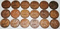 CANADA 1937 1952 SET GEORGE VI 1 CENT 18 COINS