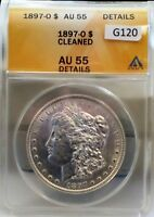 1897-O MORGAN $1 ANACS CERTIFIED AU-55 CLEANED  G120