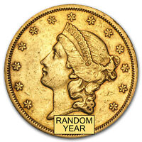 1866 1876 $20 LIBERTY GOLD DOUBLE EAGLE TYPE 2 XF  RANDOM YEAR    SKU 64257