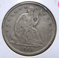 1866 LIBERTY SEATED HALF DOLLARLY FINE CONDITION              F0