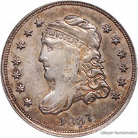 1837 H10C LARGE 5C CAPPED BUST HALF DIME RAW EXTRA FINE  -  FINE