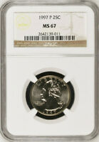 1997 P & D WASHINGTON CLAD 25C QUARTERS MS67 NGC MS 67