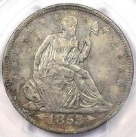 1853 ARROWS & RAYS SEATED LIBERTY HALF DOLLAR 50C   PCGS XF DETAIL    COIN!