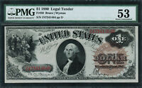 1880 $1 LEGAL TENDER FR 30   LARGE BROWN SPIKED SEAL   GRADED PMG 53
