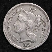 1872 THREE CENT NICKEL PIECE CHOICE XF