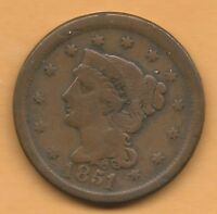1851 LARGE CENT FINE CONDITION CTL/BX
