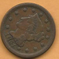 1851 LARGE CENT EXTRA FINE CONDITION CTLBX