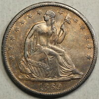 1869 S HALF DOLLAR CHOICE ALMOST UNCIRCULATED    0131 24