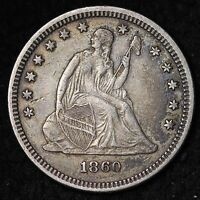 1860 SEATED LIBERTY QUARTER CHOICE XF  E301 LM
